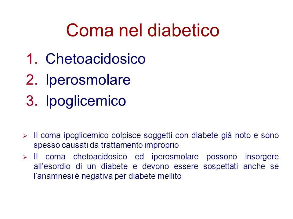 Coma nel diabetico 1.Chetoacidosico 2.Iperosmolare 3.Ipoglicemico Il coma ipoglicemico colpisce soggetti con diabete già noto e sono spesso causati da