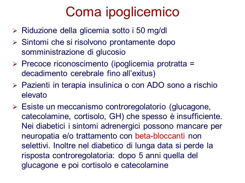 Coma ipoglicemico Riduzione della glicemia sotto i 50 mg/dl Sintomi che si risolvono prontamente dopo somministrazione di glucosio Precoce riconoscime