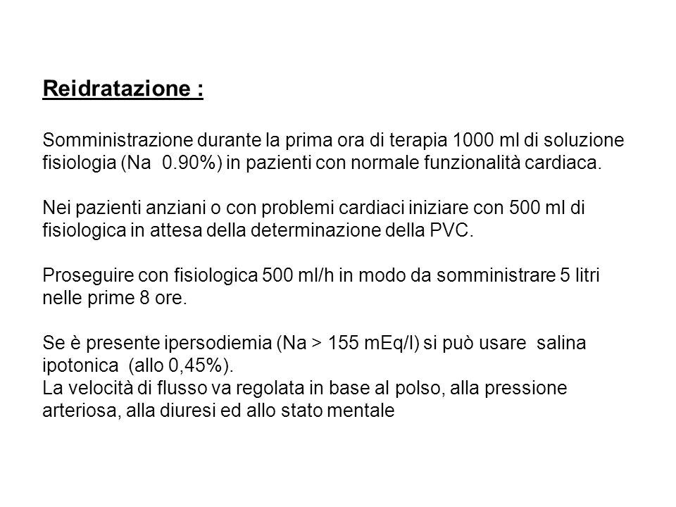 Reidratazione : Somministrazione durante la prima ora di terapia 1000 ml di soluzione fisiologia (Na 0.90%) in pazienti con normale funzionalità cardi