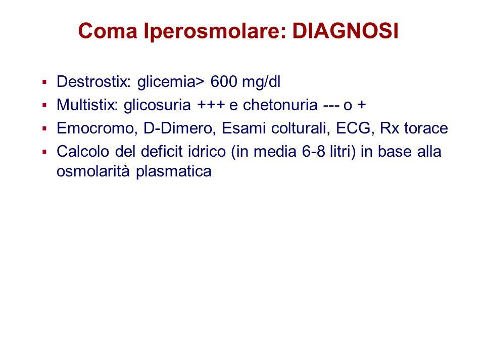 Coma Iperosmolare: DIAGNOSI Destrostix: glicemia> 600 mg/dl Multistix: glicosuria +++ e chetonuria --- o + Emocromo, D-Dimero, Esami colturali, ECG, R