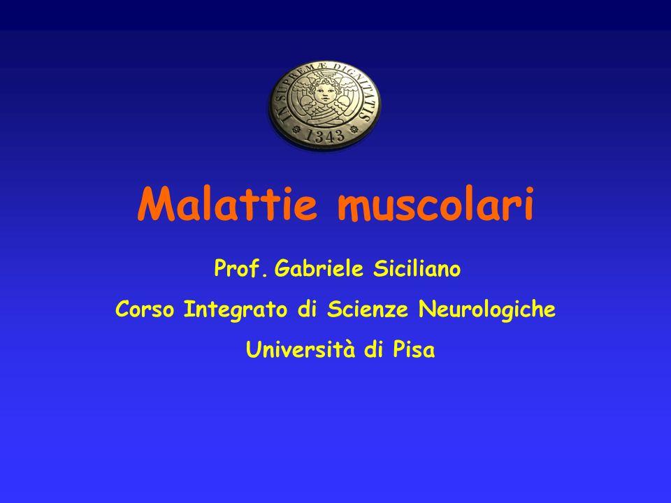 Malattie neuromuscolari: definizione Si definiscono malattie neuromuscolari quelle condizioni patologiche caratterizzate da sintomi e segni attribuibili ad alterazioni biochimiche, elettrofisiologiche o anatomo-patologiche dei costituenti dellunità motoria: 1.motoneurone inferiore 2.placca neuromuscolare 3.fibre muscolari (o dei relativi tessuti interstiziali)