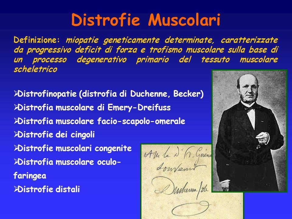 Distrofie Muscolari Definizione: miopatie geneticamente determinate, caratterizzate da progressivo deficit di forza e trofismo muscolare sulla base di