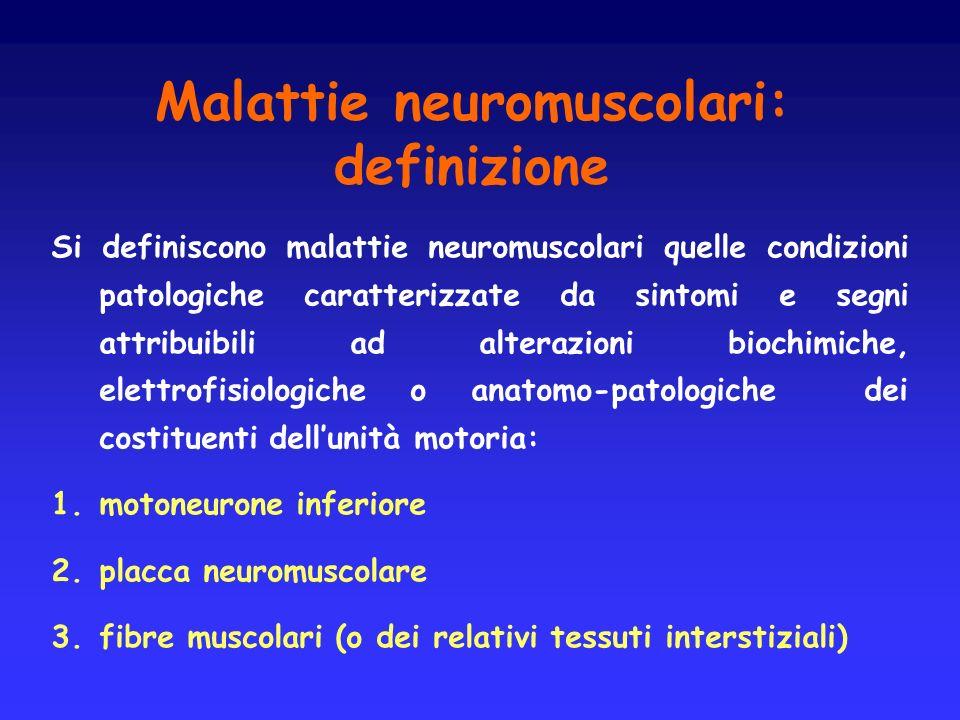 Malattie neuromuscolari: definizione Si definiscono malattie neuromuscolari quelle condizioni patologiche caratterizzate da sintomi e segni attribuibi