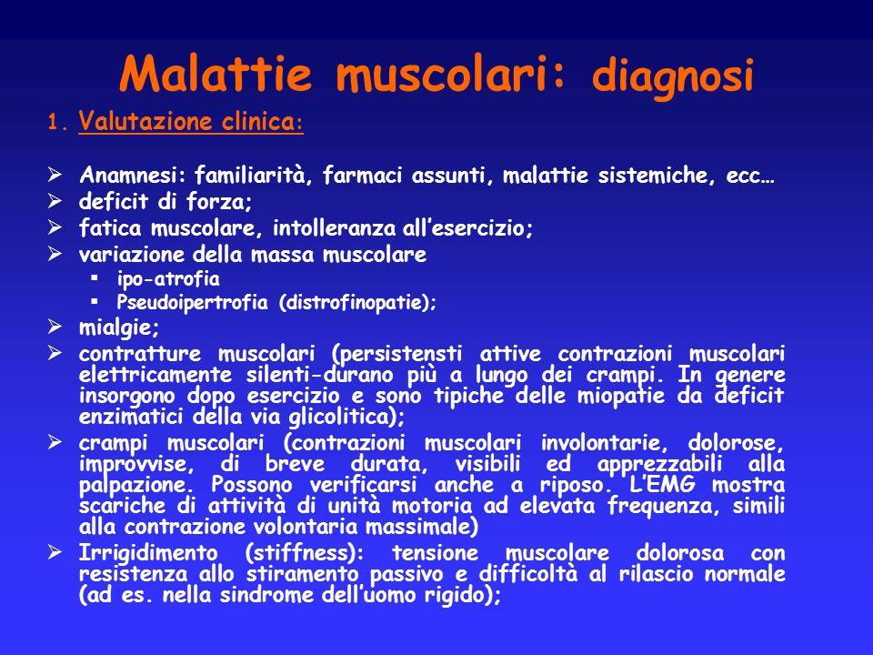 Malattie muscolari: diagnosi 1. Valutazione clinica : Anamnesi: familiarità, farmaci assunti, malattie sistemiche, ecc… deficit di forza; fatica musco