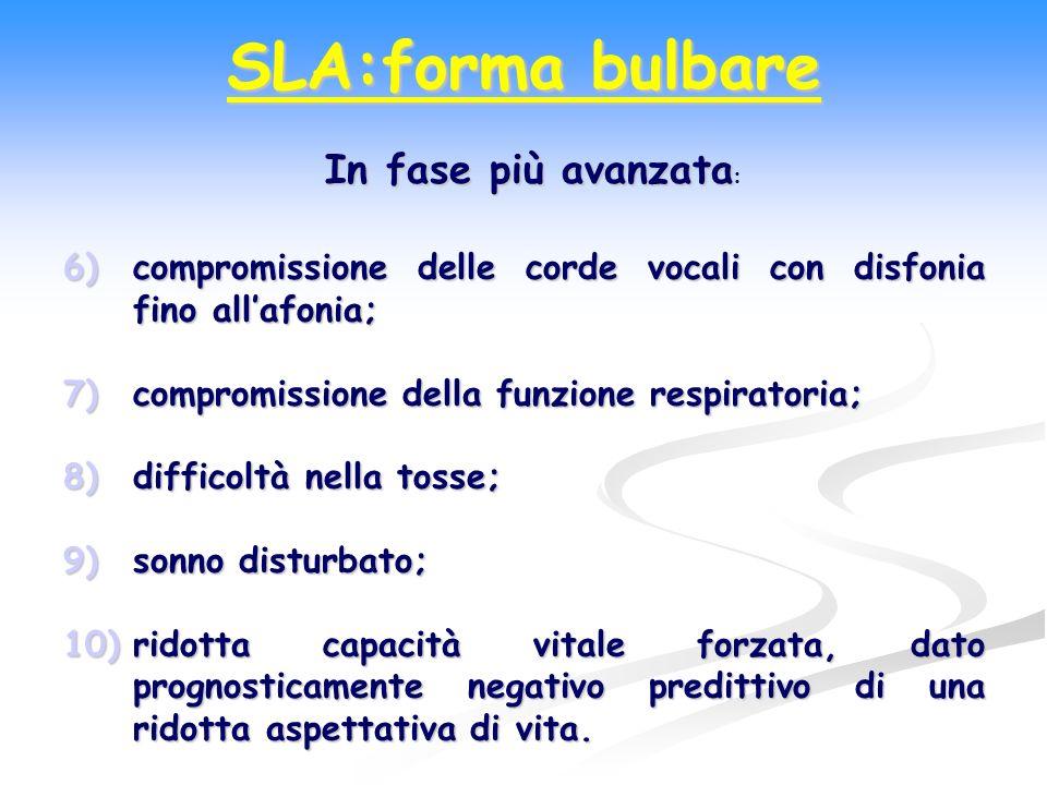 6)compromissione delle corde vocali con disfonia fino allafonia; 7)compromissione della funzione respiratoria; 8)difficoltà nella tosse; 9)sonno distu