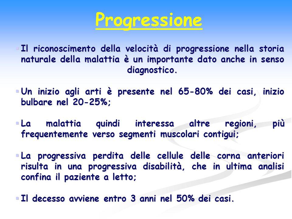 Progressione Il riconoscimento della velocità di progressione nella storia naturale della malattia è un importante dato anche in senso diagnostico. Il
