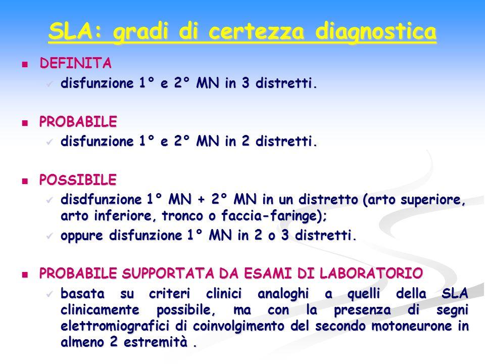 SLA: gradi di certezza diagnostica DEFINITA DEFINITA disfunzione 1° e 2° MN in 3 distretti. disfunzione 1° e 2° MN in 3 distretti. PROBABILE PROBABILE