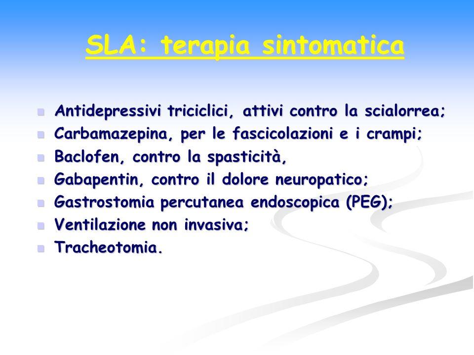 Antidepressivi triciclici, attivi contro la scialorrea; Antidepressivi triciclici, attivi contro la scialorrea; Carbamazepina, per le fascicolazioni e