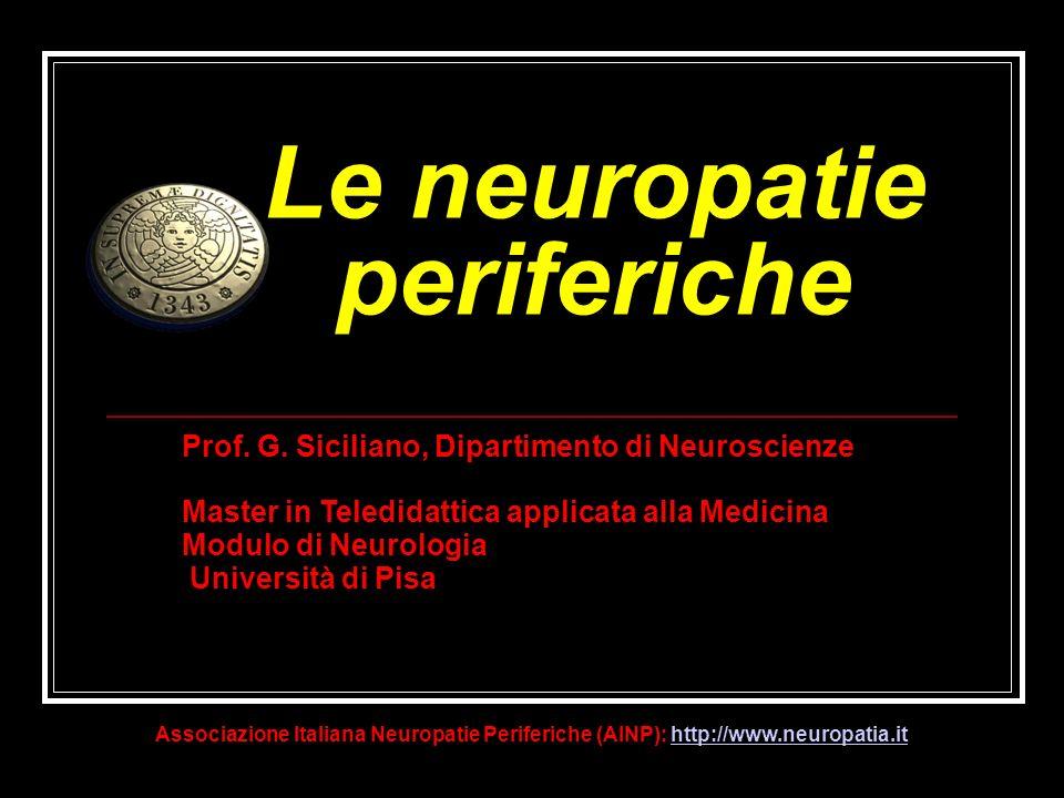 Le neuropatie periferiche Prof. G. Siciliano, Dipartimento di Neuroscienze Master in Teledidattica applicata alla Medicina Modulo di Neurologia Univer