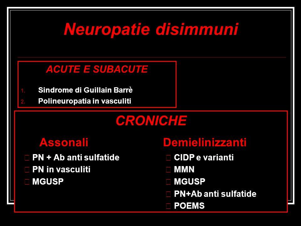 Neuropatie disimmuni ACUTE E SUBACUTE 1. Sindrome di Guillain Barrè 2. Polineuropatia in vasculiti CRONICHE Assonali Demielinizzanti PN + Ab anti sulf