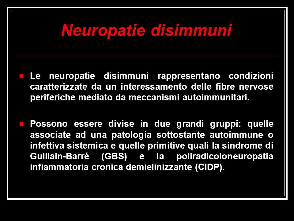 Neuropatie disimmuni Le neuropatie disimmuni rappresentano condizioni caratterizzate da un interessamento delle fibre nervose periferiche mediato da m