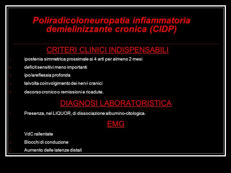 Poliradicoloneuropatia infiammatoria demielinizzante cronica (CIDP) CRITERI CLINICI INDISPENSABILI 1. ipostenia simmetrica prossimale ai 4 arti per al