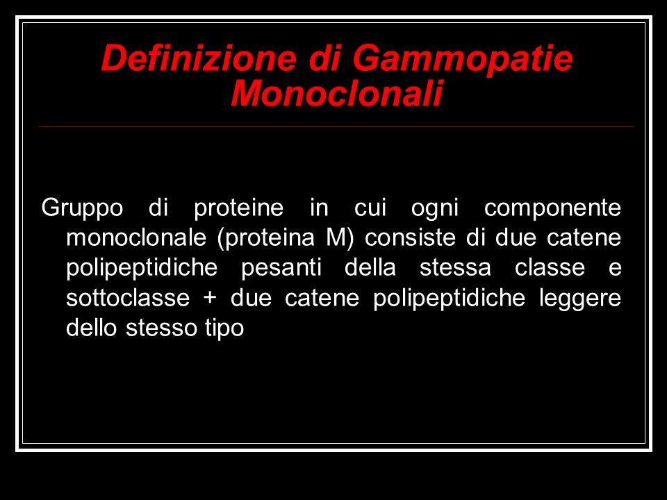 Definizione di Gammopatie Monoclonali Gruppo di proteine in cui ogni componente monoclonale (proteina M) consiste di due catene polipeptidiche pesanti