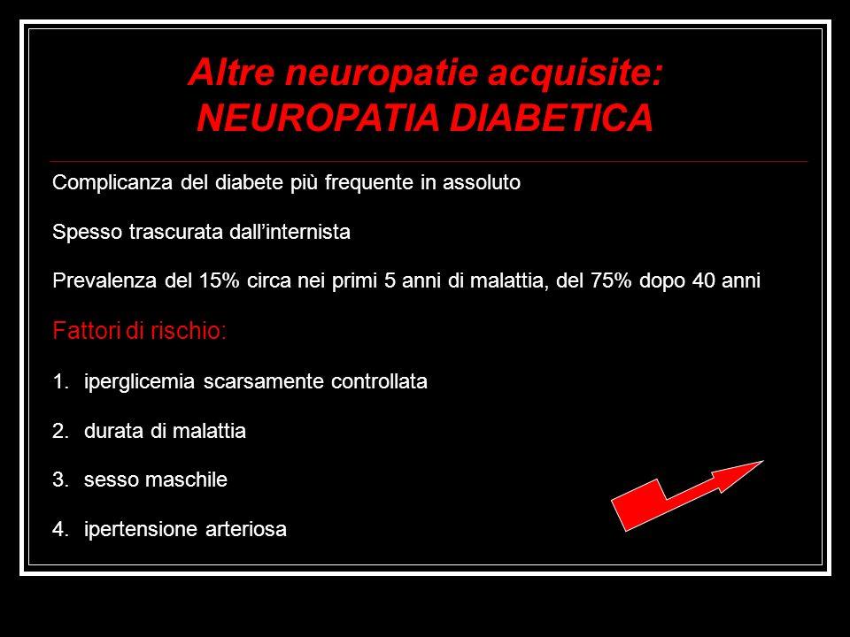 Complicanza del diabete più frequente in assoluto Spesso trascurata dallinternista Prevalenza del 15% circa nei primi 5 anni di malattia, del 75% dopo