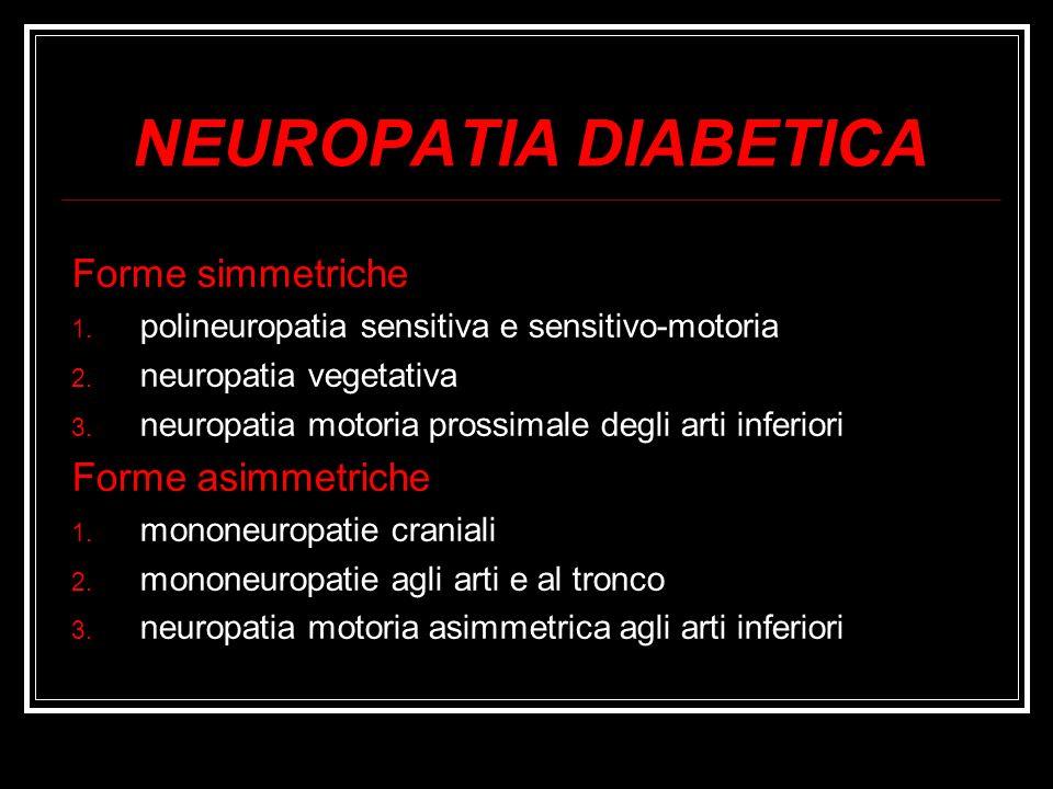 Forme simmetriche 1. polineuropatia sensitiva e sensitivo-motoria 2. neuropatia vegetativa 3. neuropatia motoria prossimale degli arti inferiori Forme