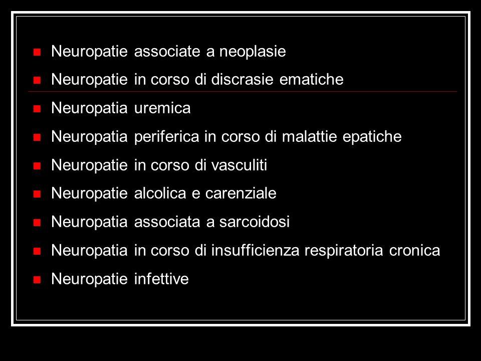 Neuropatie associate a neoplasie Neuropatie in corso di discrasie ematiche Neuropatia uremica Neuropatia periferica in corso di malattie epatiche Neur