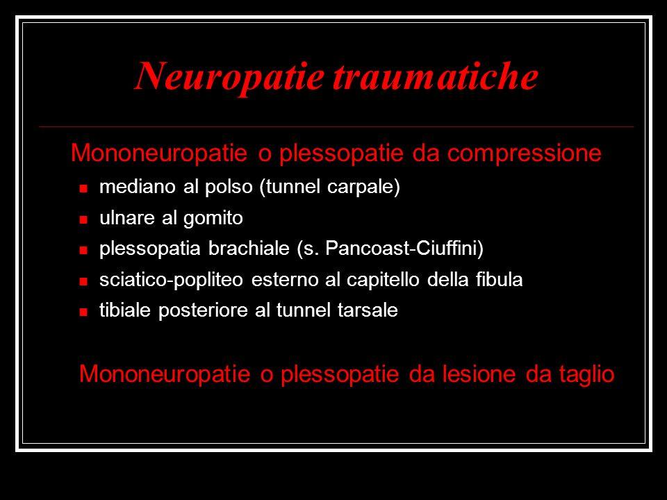 Neuropatie traumatiche Mononeuropatie o plessopatie da compressione mediano al polso (tunnel carpale) ulnare al gomito plessopatia brachiale (s. Panco