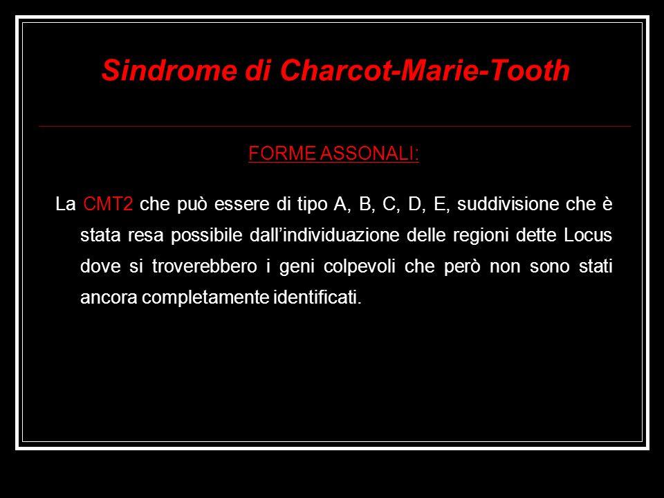 Sindrome di Charcot-Marie-Tooth FORME ASSONALI: La CMT2 che può essere di tipo A, B, C, D, E, suddivisione che è stata resa possibile dallindividuazio
