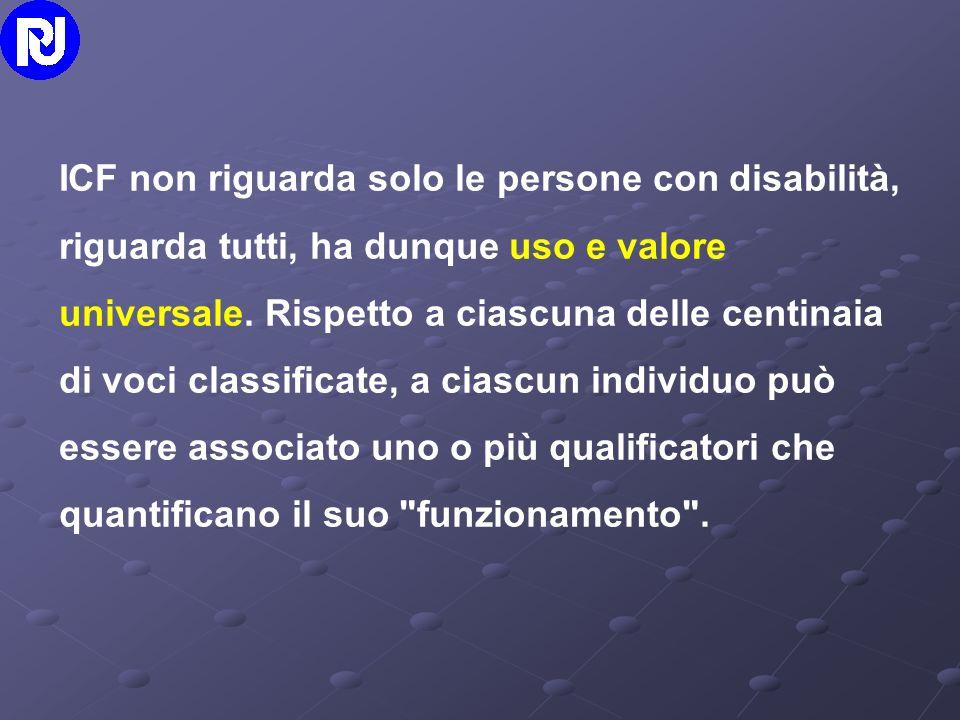 ICF non riguarda solo le persone con disabilità, riguarda tutti, ha dunque uso e valore universale.
