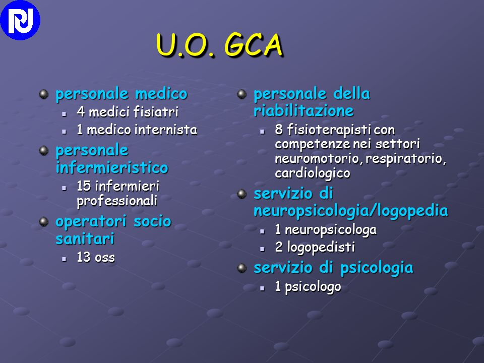 U.O. GCA personale medico 4 medici fisiatri 4 medici fisiatri 1 medico internista 1 medico internista personale infermieristico 15 infermieri professi