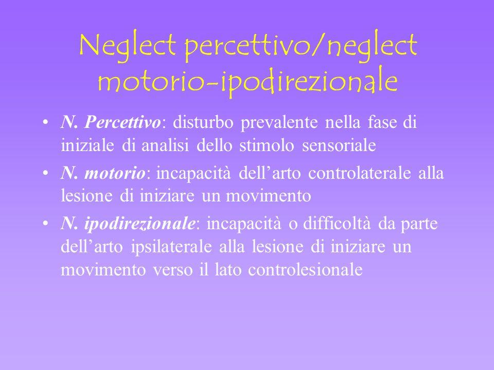 Neglect percettivo/neglect motorio-ipodirezionale N. Percettivo: disturbo prevalente nella fase di iniziale di analisi dello stimolo sensoriale N. mot