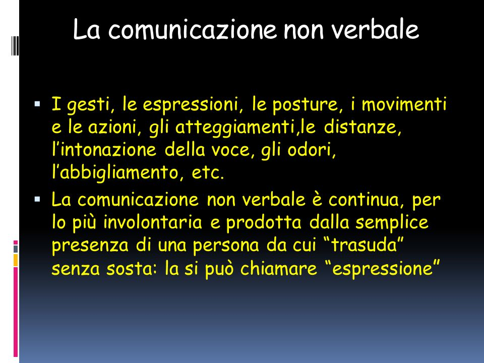 La comunicazione non verbale I gesti, le espressioni, le posture, i movimenti e le azioni, gli atteggiamenti,le distanze, lintonazione della voce, gli odori, labbigliamento, etc.