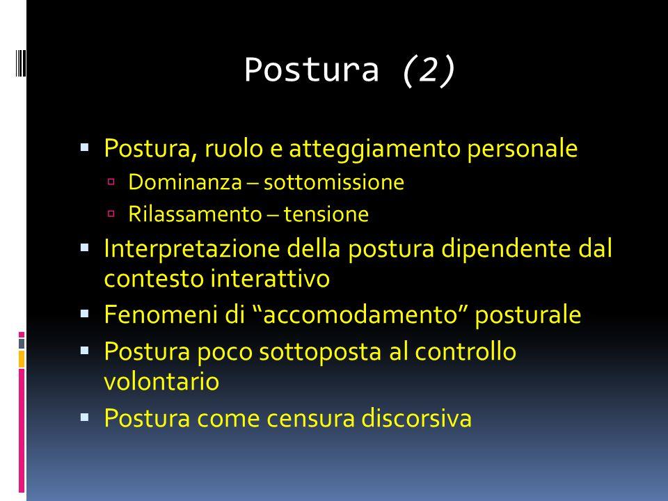 Postura (2) Postura, ruolo e atteggiamento personale Dominanza – sottomissione Rilassamento – tensione Interpretazione della postura dipendente dal contesto interattivo Fenomeni di accomodamento posturale Postura poco sottoposta al controllo volontario Postura come censura discorsiva