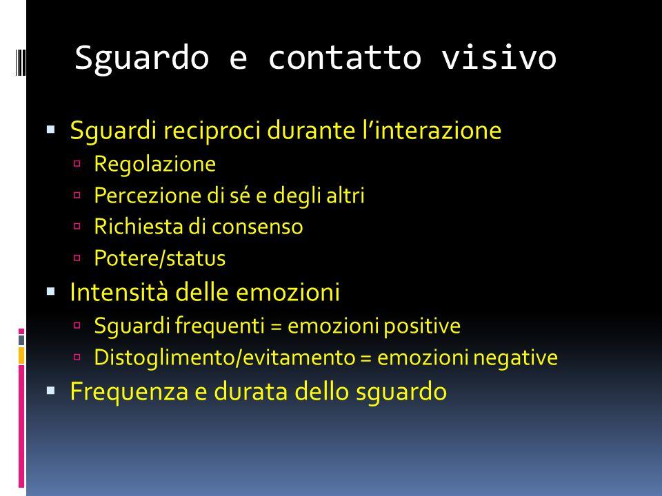 Sguardo e contatto visivo Sguardi reciproci durante linterazione Regolazione Percezione di sé e degli altri Richiesta di consenso Potere/status Intens