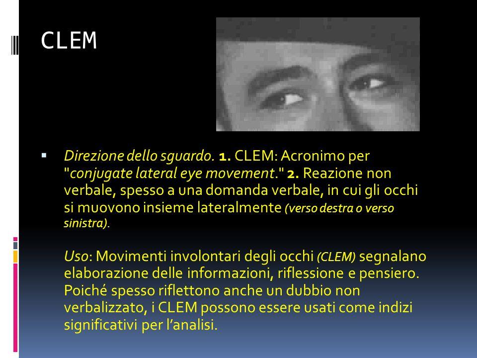 CLEM Direzione dello sguardo.1. CLEM: Acronimo per conjugate lateral eye movement. 2.