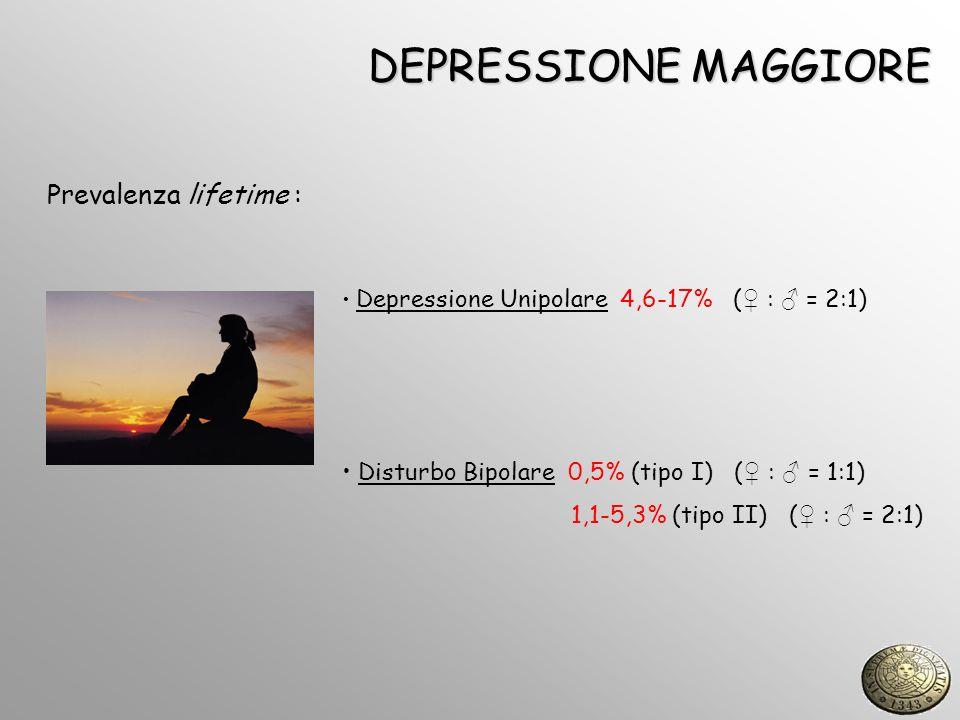 DEPRESSIONE MAGGIORE Prevalenza lifetime : Depressione Unipolare 4,6-17% ( : = 2:1) Disturbo Bipolare 0,5% (tipo I) ( : = 1:1) 1,1-5,3% (tipo II) ( :