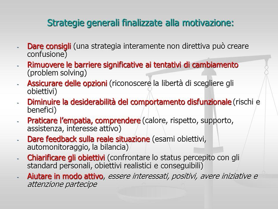 Strategie generali finalizzate alla motivazione: Strategie generali finalizzate alla motivazione: - Dare consigli (una strategia interamente non diret