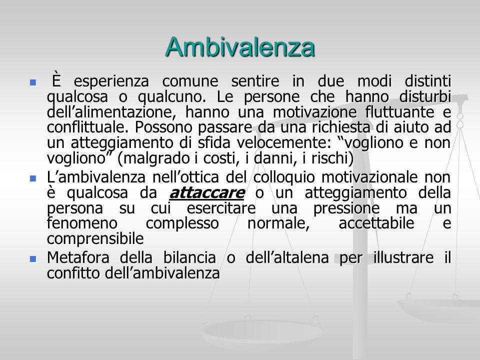 Ambivalenza È esperienza comune sentire in due modi distinti qualcosa o qualcuno. Le persone che hanno disturbi dellalimentazione, hanno una motivazio