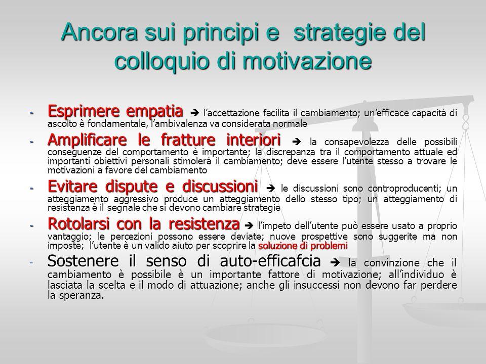 Ancora sui principi e strategie del colloquio di motivazione - Esprimere empatia laccettazione facilita il cambiamento; unefficace capacità di ascolto