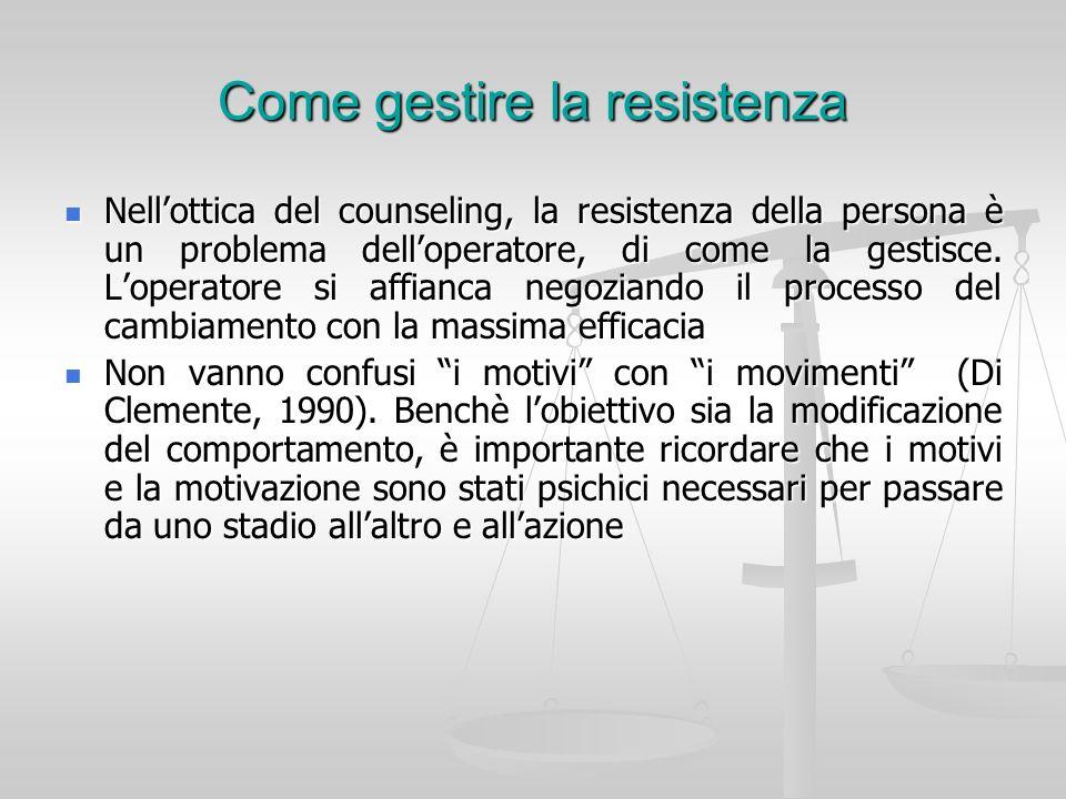 Come gestire la resistenza Nellottica del counseling, la resistenza della persona è un problema delloperatore, di come la gestisce. Loperatore si affi