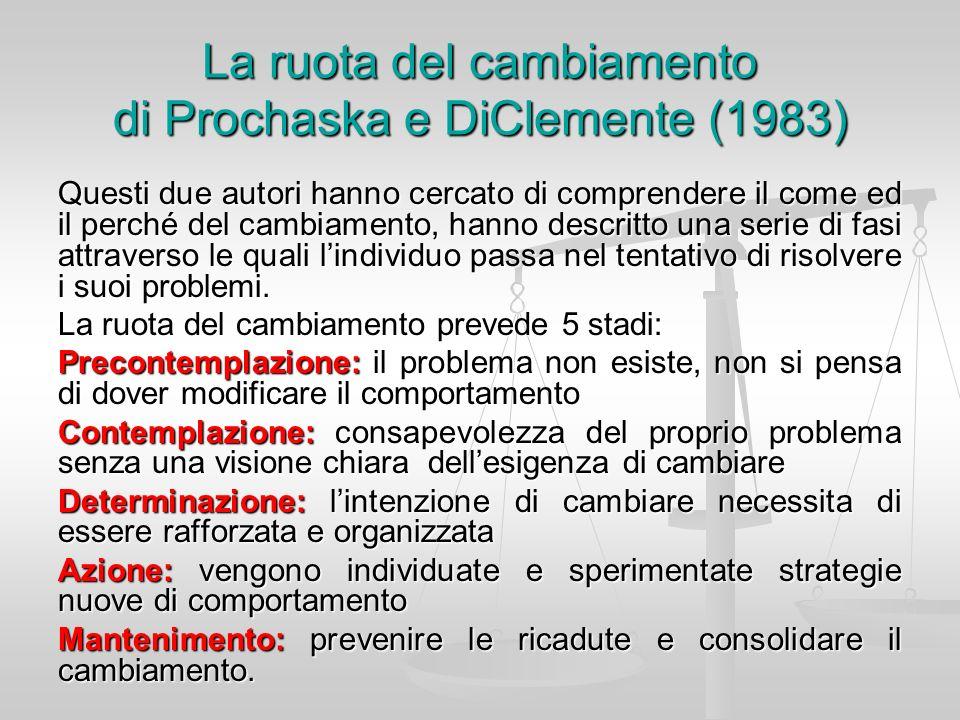 La ruota del cambiamento di Prochaska e DiClemente (1983) Questi due autori hanno cercato di comprendere il come ed il perché del cambiamento, hanno d