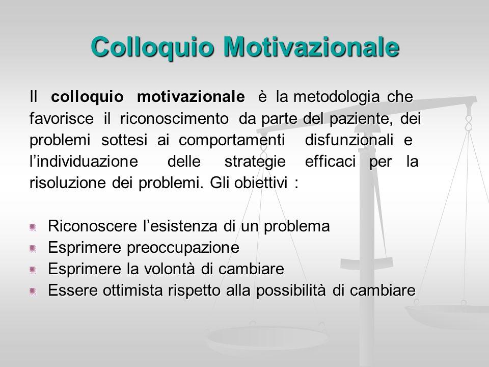 Colloquio Motivazionale Il colloquio motivazionale è la metodologia che favorisce il riconoscimento da parte del paziente, dei problemi sottesi ai com
