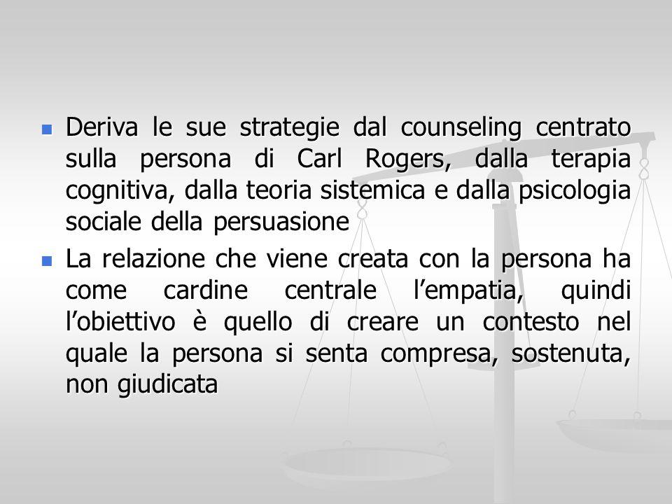 Deriva le sue strategie dal counseling centrato sulla persona di Carl Rogers, dalla terapia cognitiva, dalla teoria sistemica e dalla psicologia socia