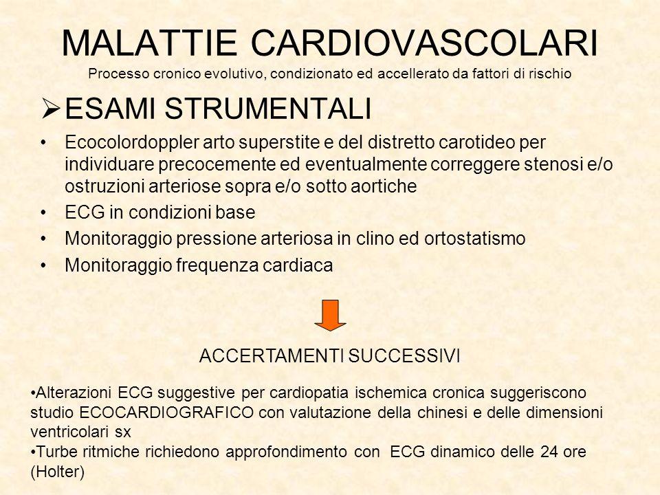 ESAMI STRUMENTALI Ecocolordoppler arto superstite e del distretto carotideo per individuare precocemente ed eventualmente correggere stenosi e/o ostruzioni arteriose sopra e/o sotto aortiche ECG in condizioni base Monitoraggio pressione arteriosa in clino ed ortostatismo Monitoraggio frequenza cardiaca MALATTIE CARDIOVASCOLARI Processo cronico evolutivo, condizionato ed accellerato da fattori di rischio ACCERTAMENTI SUCCESSIVI Alterazioni ECG suggestive per cardiopatia ischemica cronica suggeriscono studio ECOCARDIOGRAFICO con valutazione della chinesi e delle dimensioni ventricolari sx Turbe ritmiche richiedono approfondimento con ECG dinamico delle 24 ore (Holter)