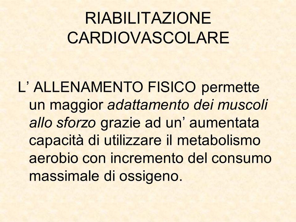 RIABILITAZIONE CARDIOVASCOLARE L ALLENAMENTO FISICO permette un maggior adattamento dei muscoli allo sforzo grazie ad un aumentata capacità di utilizzare il metabolismo aerobio con incremento del consumo massimale di ossigeno.
