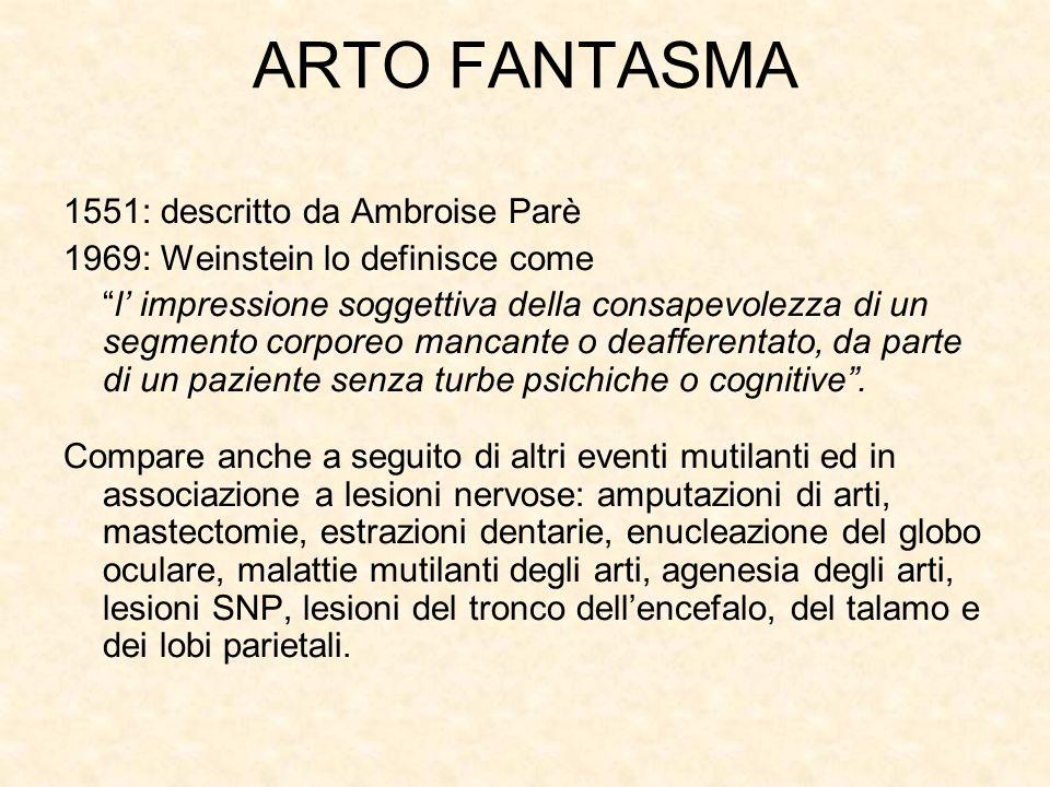 1551: descritto da Ambroise Parè 1969: Weinstein lo definisce come l impressione soggettiva della consapevolezza di un segmento corporeo mancante o deafferentato, da parte di un paziente senza turbe psichiche o cognitive.