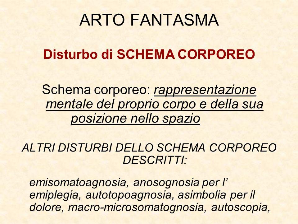 ARTO FANTASMA Disturbo di SCHEMA CORPOREO Schema corporeo: rappresentazione mentale del proprio corpo e della sua posizione nello spazio ALTRI DISTURBI DELLO SCHEMA CORPOREO DESCRITTI: emisomatoagnosia, anosognosia per l emiplegia, autotopoagnosia, asimbolia per il dolore, macro-microsomatognosia, autoscopia,