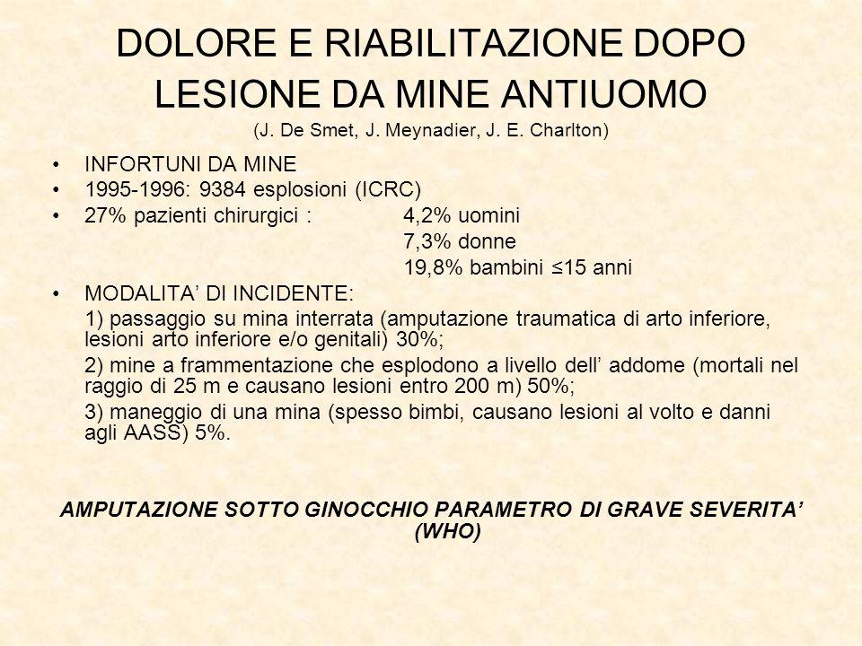 DOLORE E RIABILITAZIONE DOPO LESIONE DA MINE ANTIUOMO (J.