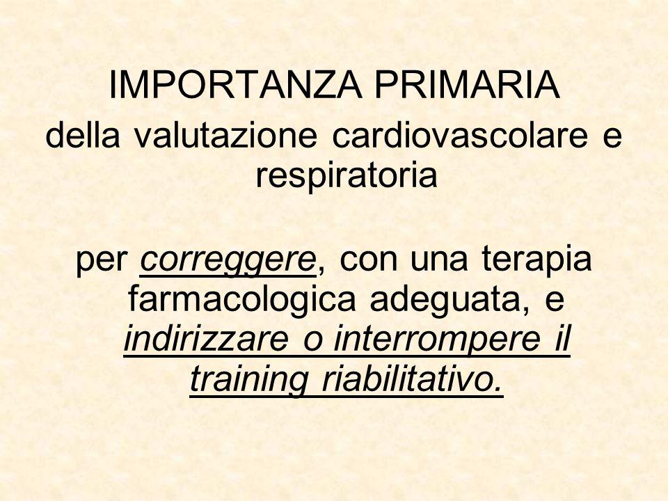 IMPORTANZA PRIMARIA della valutazione cardiovascolare e respiratoria per correggere, con una terapia farmacologica adeguata, e indirizzare o interrompere il training riabilitativo.