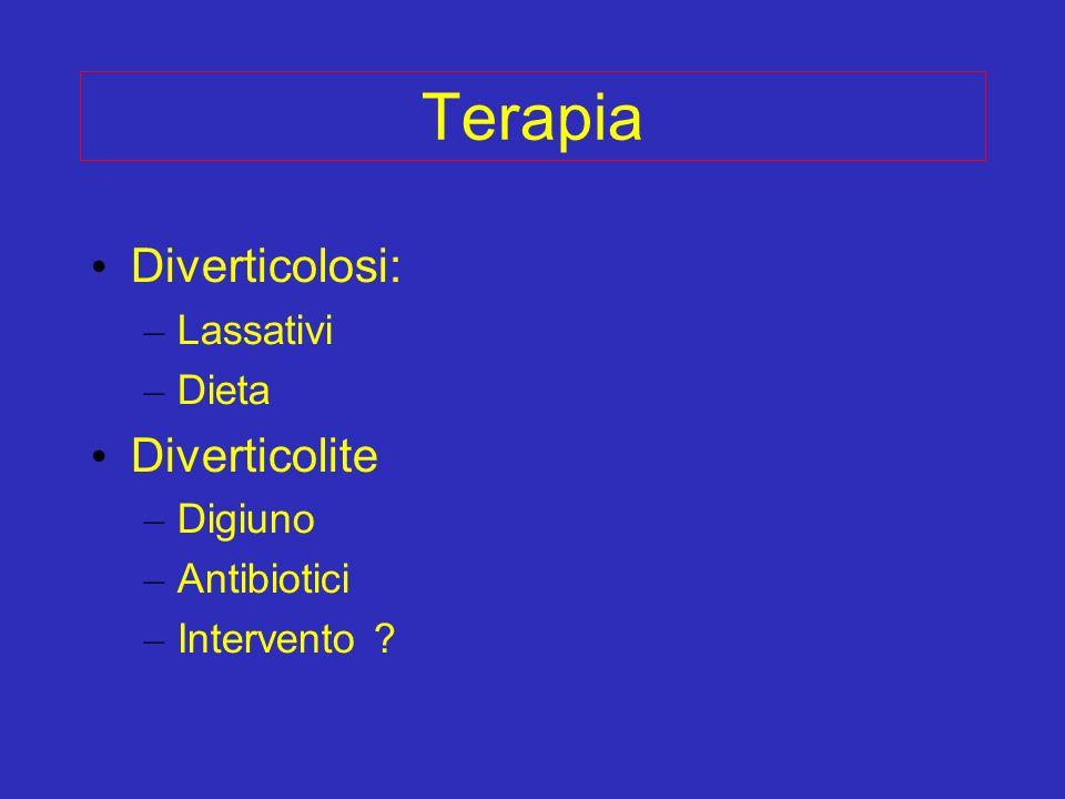 Terapia Diverticolosi: – Lassativi – Dieta Diverticolite – Digiuno – Antibiotici – Intervento ?