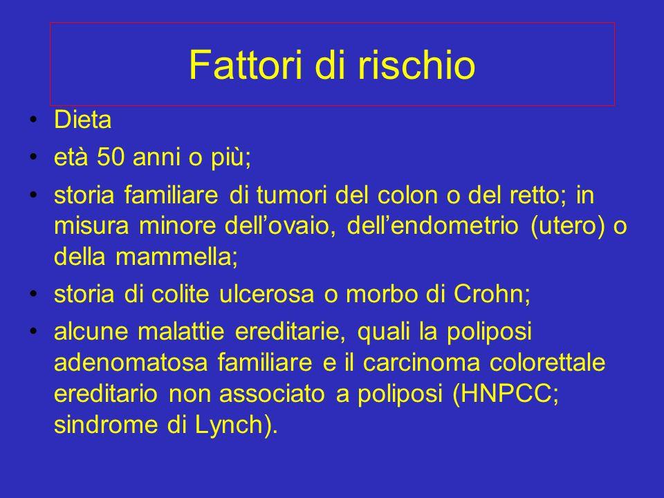 Fattori di rischio Dieta età 50 anni o più; storia familiare di tumori del colon o del retto; in misura minore dellovaio, dellendometrio (utero) o del