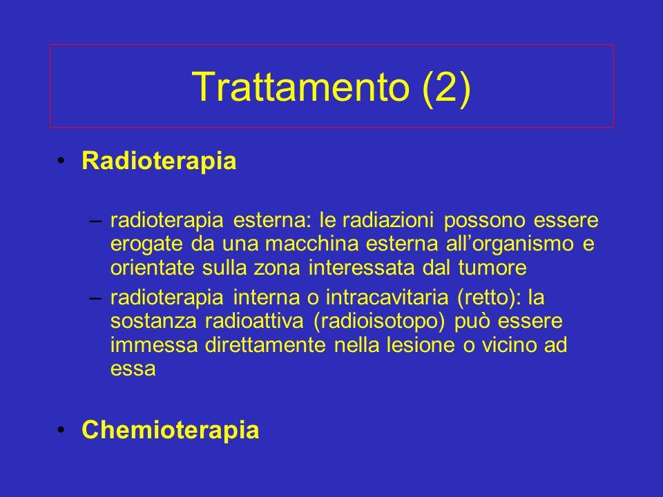 Trattamento (2) Radioterapia –radioterapia esterna: le radiazioni possono essere erogate da una macchina esterna allorganismo e orientate sulla zona i