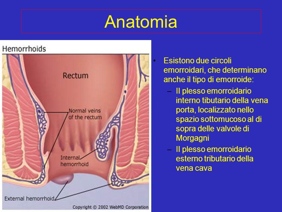 Anatomia Esistono due circoli emorroidari, che determinano anche il tipo di emorroide: –Il plesso emorroidario interno tibutario della vena porta, loc