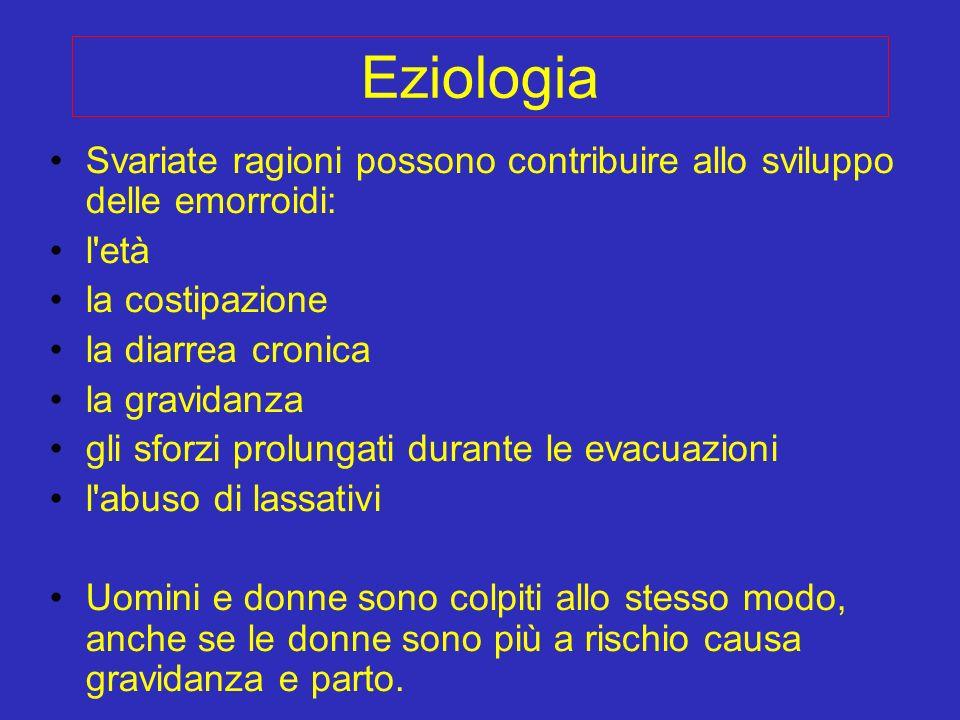 Eziologia Svariate ragioni possono contribuire allo sviluppo delle emorroidi: l'età la costipazione la diarrea cronica la gravidanza gli sforzi prolun