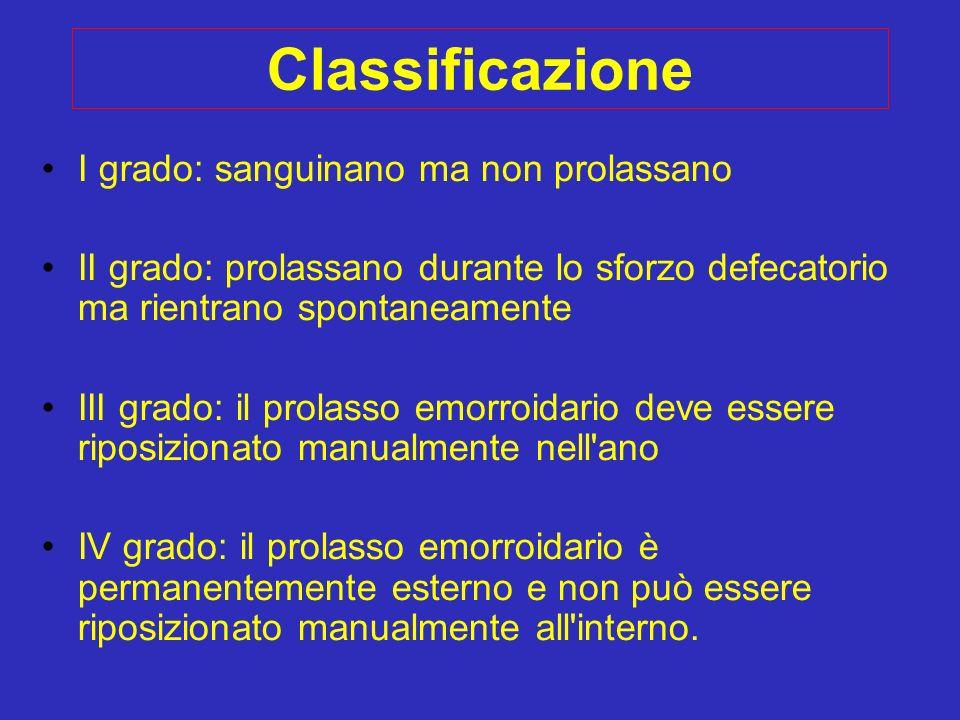 Classificazione I grado: sanguinano ma non prolassano II grado: prolassano durante lo sforzo defecatorio ma rientrano spontaneamente III grado: il pro