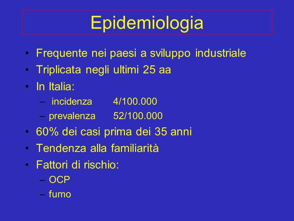 Epidemiologia Frequente nei paesi a sviluppo industriale Triplicata negli ultimi 25 aa In Italia: – incidenza 4/100.000 –prevalenza 52/100.000 60% dei
